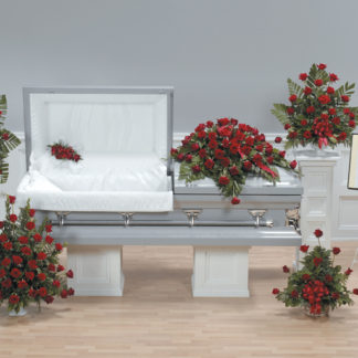 Casket and Family Flowers